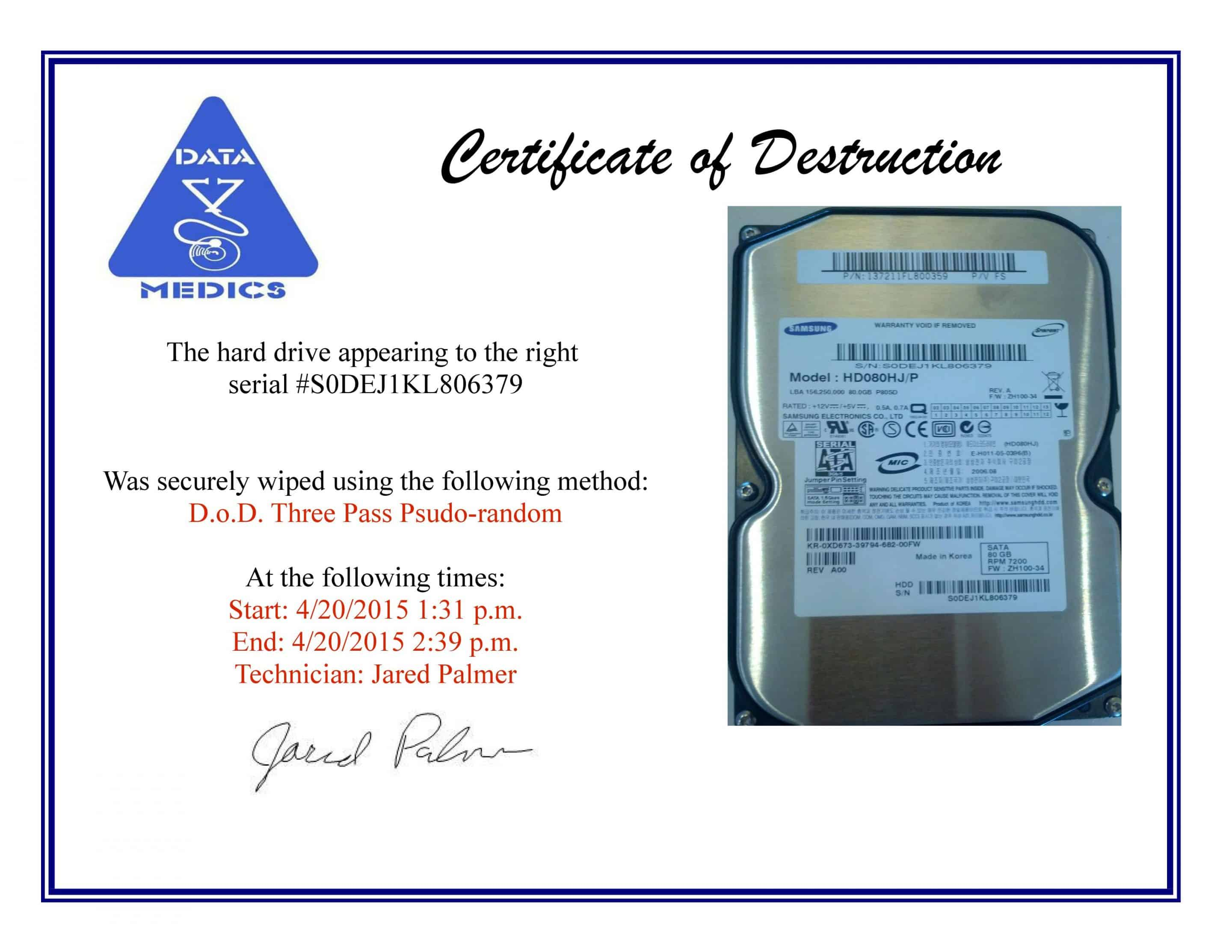 Free hard drive wiping services hdd destruction for Certificate of data destruction template